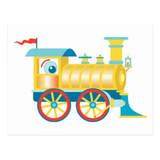 Colorful Toy Train Postcard