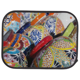 Colorful traditional hand-painted Mexican pottery Car Mat