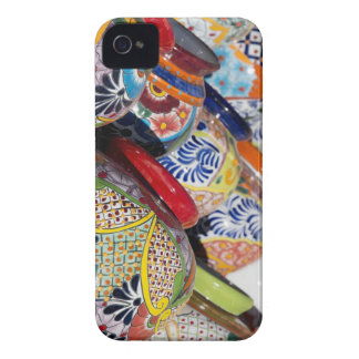 Colorful traditional hand-painted Mexican pottery iPhone 4 Case-Mate Cases