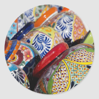 Colorful traditional hand-painted Mexican pottery Round Sticker