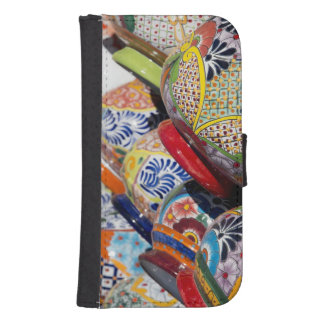 Colorful traditional hand-painted Mexican pottery Samsung S4 Wallet Case