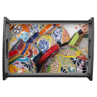 Colorful traditional hand-painted Mexican pottery Serving Tray