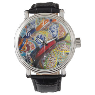 Colorful traditional hand-painted Mexican pottery Watch