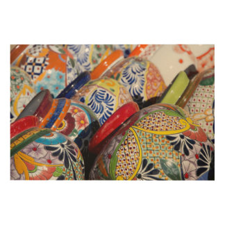 Colorful traditional hand-painted Mexican pottery Wood Wall Decor