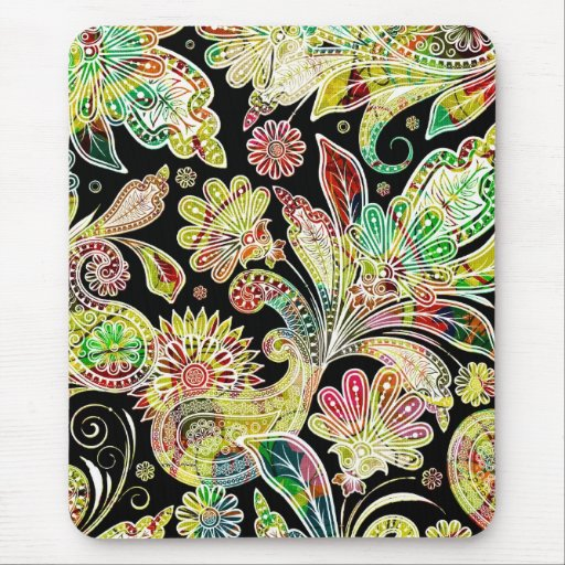 Colorful Traditional Paisley Pattern Mouse Pads