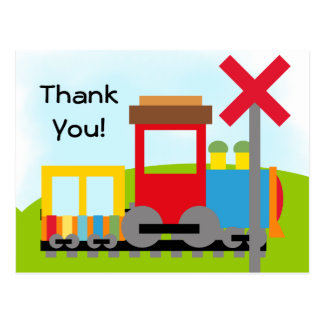 Colorful Train Birthday Thanks Postcard