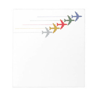 colorful travel airplanes notepad