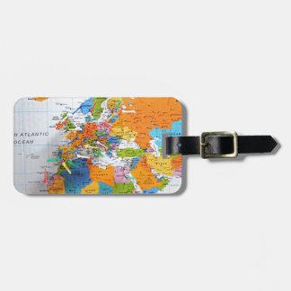 Colorful Travel Map Bag Tag