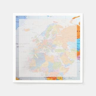 Colorful Travel Map Disposable Napkin