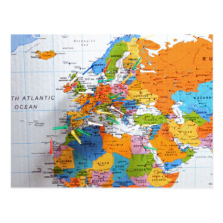 Colorful Travel Map Postcard