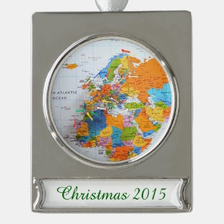 Colorful Travel Map Silver Plated Banner Ornament