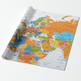 Colorful Travel Map Wrapping Paper