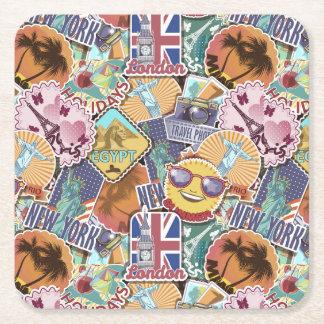 Colorful Travel Sticker Pattern Square Paper Coaster