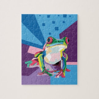 Colorful Tree Frog Portrait Jigsaw Puzzle
