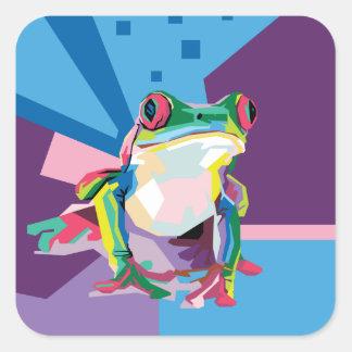 Colorful Tree Frog Portrait Square Sticker