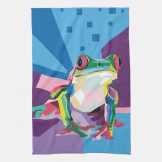 Colorful Tree Frog Portrait Tea Towel