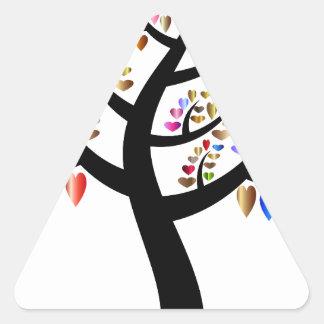 Colorful Tree Heart Triangle Sticker