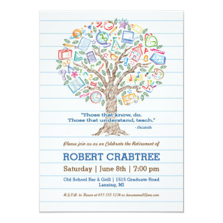 Colorful Tree of Knowledge Teacher Retirement Card 13 Cm X 18 Cm Invitation Card