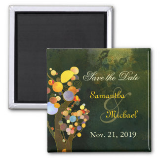 Colorful Trees Contemporary Wedding Save the Date Square Magnet