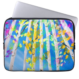 Colorful Trees with Neon Leaves Painting Laptop Sleeve