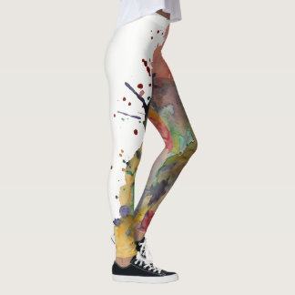 Colorful, Trendy Bold Abstract Watercolor Splashes Leggings