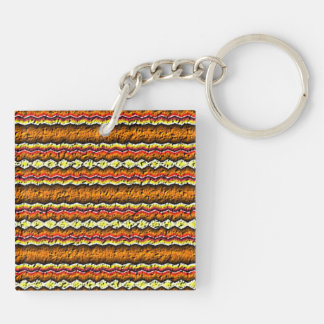 Colorful trendy pattern Double-Sided square acrylic key ring
