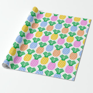 Colorful Trendy Pineapple Pattern Wrapping Paper