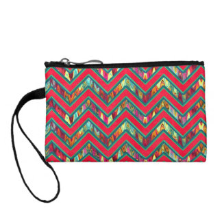 Colorful Trendy Psychedelic Zig Zag Coin Purse