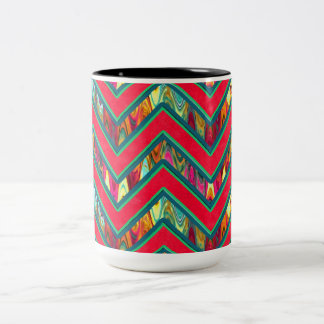 Colorful Trendy Psychedelic Zig Zag Two-Tone Coffee Mug