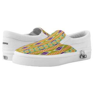 Colorful Trendy Tribal Aztec Geometric Pattern Slip On Shoes