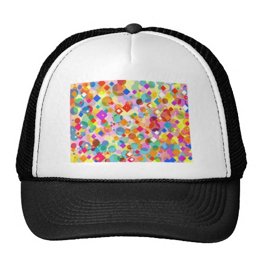 Colorful Triangle and Dot Pattern Trucker Hat