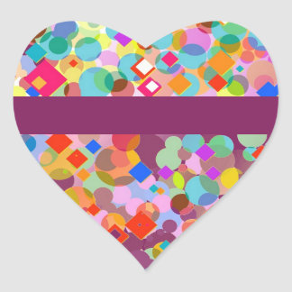 Colorful Triangle and Dot Pattern Heart Sticker