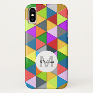 Colorful triangle galore geometry pattern Monogram iPhone X Case