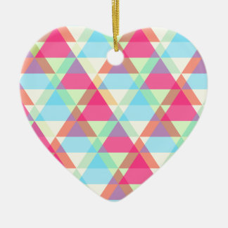 Colorful Triangle pattern Ceramic Heart Decoration