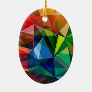 Colorful triangle pattern ceramic oval decoration