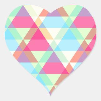 Colorful Triangle pattern Heart Sticker
