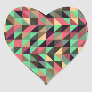 Colorful triangle pattern heart sticker