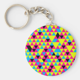 Colorful triangle pattern illustration basic round button key ring