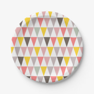 colorful triangles pattern paper plate
