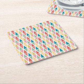 Colorful triangles square paper coaster