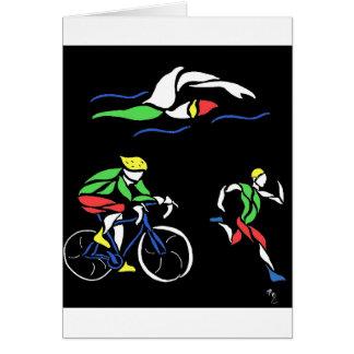 Colorful Triathlon Design Greeting Card