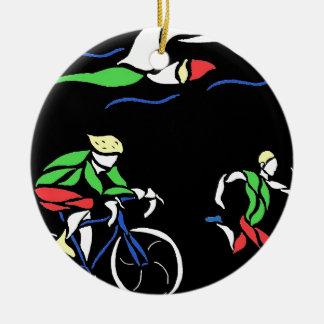 Colorful Triathlon Design Round Ceramic Decoration