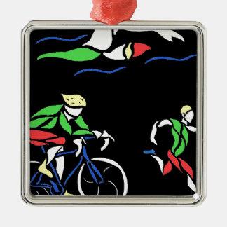 Colorful Triathlon Design Silver-Colored Square Decoration