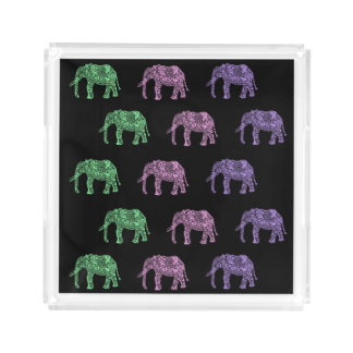 colorful tribal floral boho elephant pattern acrylic tray