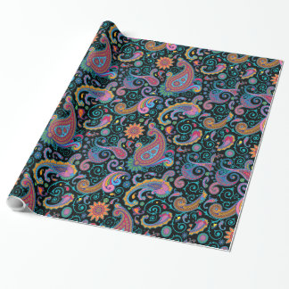 Colorful Tribal Floral Paisley Pattern Wrapping Paper