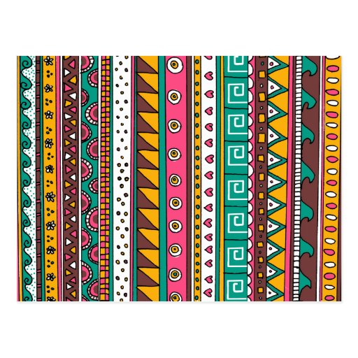 Colorful Tribal pattern Post Cards