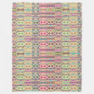 Colorful Tribal Stripes Fleece Blanket