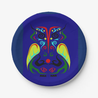 COLORFUL TRIBAL TATTOO OWL PARTY PLATE