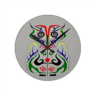 COLORFUL TRIBAL TATTOO OWL WALL CLOCK
