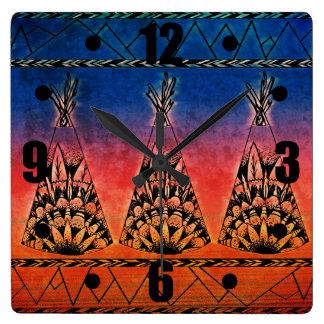 Colorful Tribal Teepees Art Boho Design Square Wall Clock